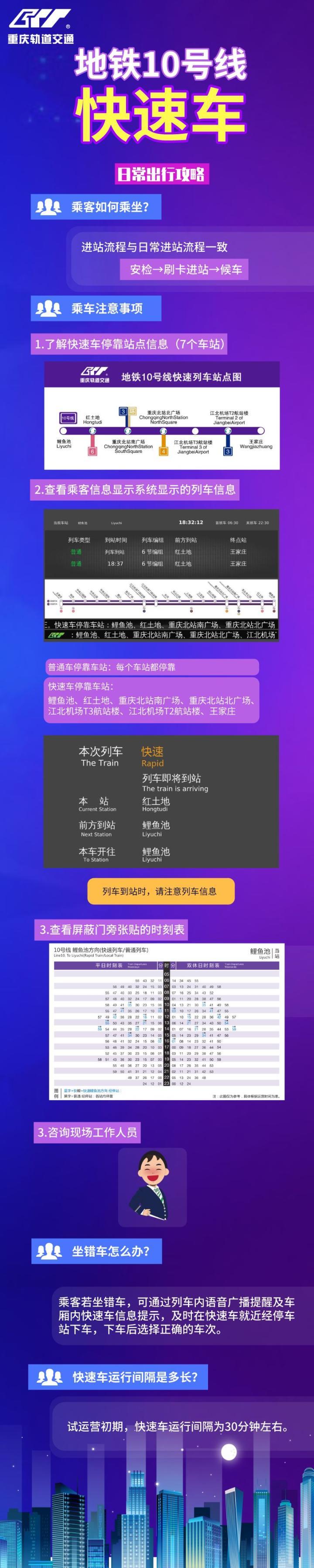 重庆地铁10号线快速车上线 全程7个站可省12分钟图片