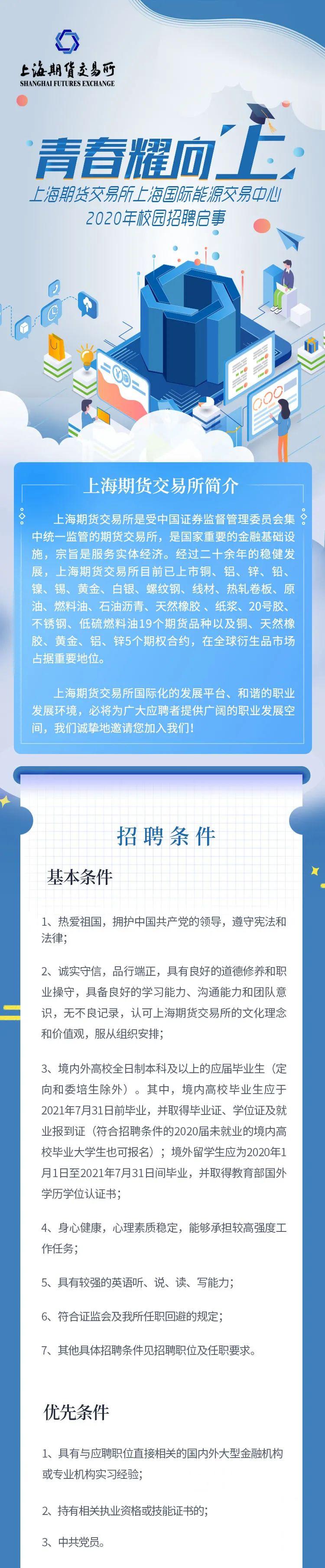 上海期货交易所上海国际能源交易中心2020年校园招聘启事
