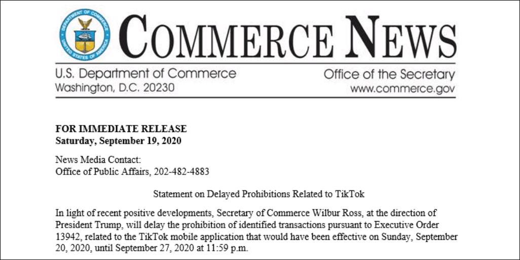 美商务部:TikTok下载禁令推迟一周生效图片