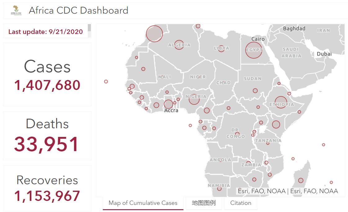 非洲大陆新冠肺炎确诊病例超140万