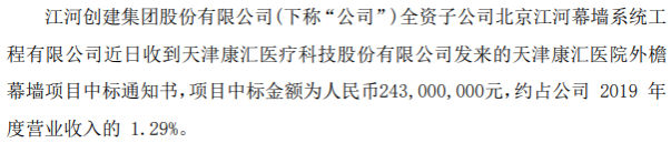 江河集团全资子公司收到中标通知书 中标金额为2.43亿元