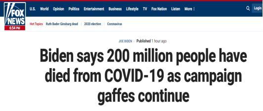 拜登称约有2亿人死于新冠 美媒:美国总共才3亿多人