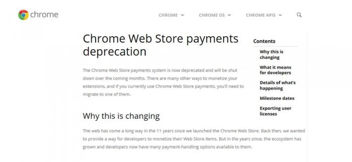 Chrome Web Store支付系统停用 谷歌推荐开发者尽快迁移