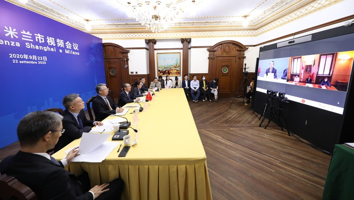上海与这座欧洲城市举行视频连线,疫情期间曾相互支持、携手抗疫图片
