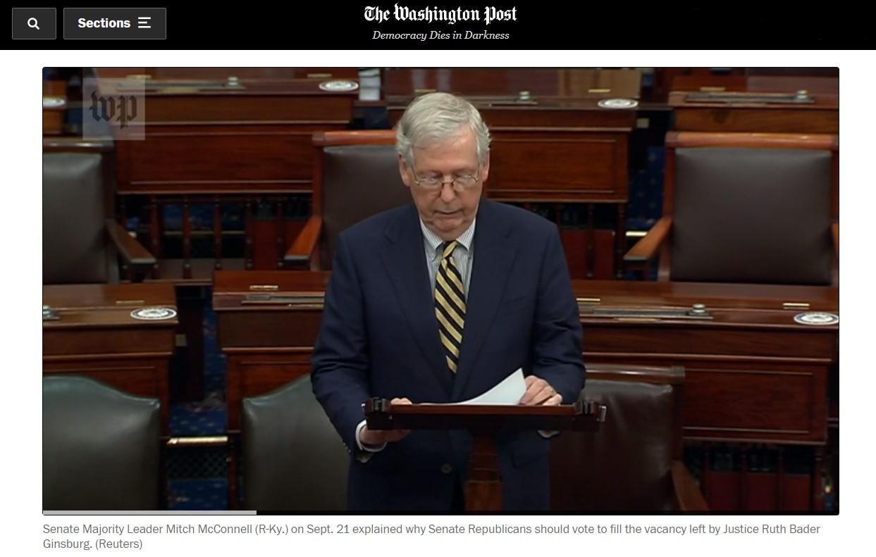 △《华盛顿邮报》报道,参院多数党领袖麦康奈尔9月21日发表演讲,强调应尽快填补金斯伯格大法官去世出现的空缺