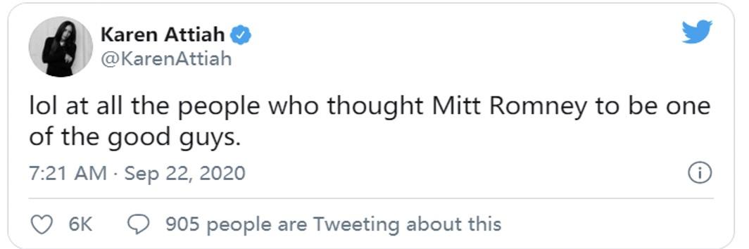 """△网友讽刺罗姆尼支持特朗普:""""一直以来认为罗姆尼是个好人的人,真是笑死我了。"""""""