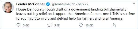 美国参议院多数党领袖麦康奈尔推特截图