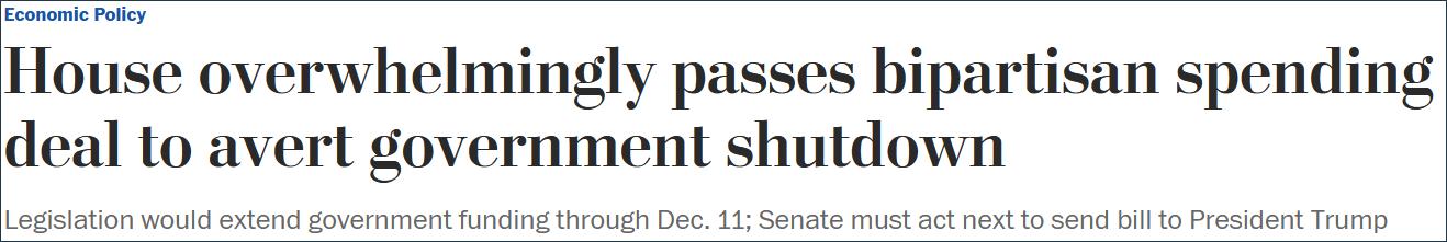 《华盛顿邮报》报道:众议院压倒性通过两党支出协议避免政府关门