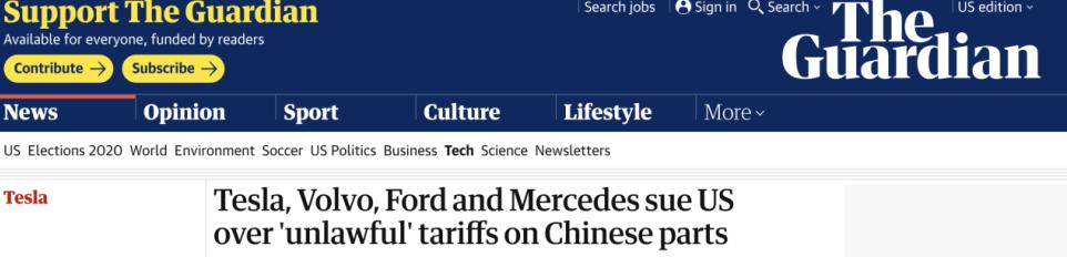 梅赛德斯 沃尔沃 福特等全球汽车巨头起诉特朗普政府对中国零部件滥加关税
