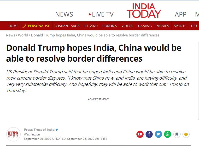 还想着插手?特朗普重申:乐意帮助调解中印边境争端图片