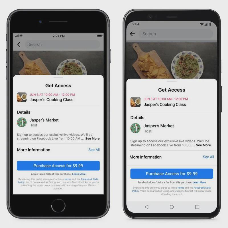 苹果给予Facebook等平台应用短期特权 2021年前不会对付费活动收取费用