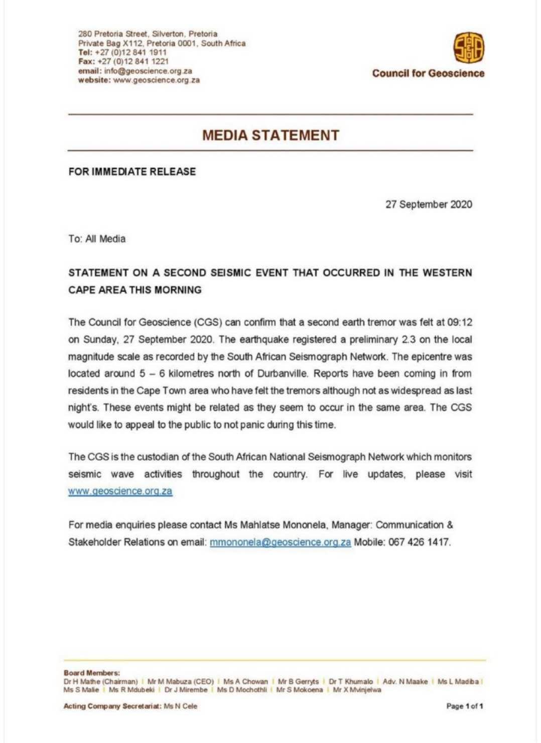 南非开普敦地震不断 当地核电站表示其未受安全影响