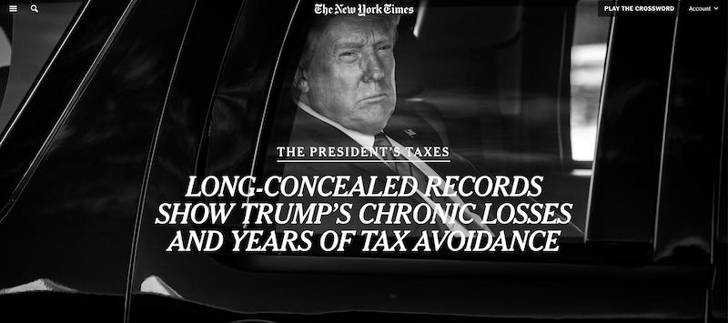 《纽约时报》抖出猛料:特朗普避税多年 负债数亿