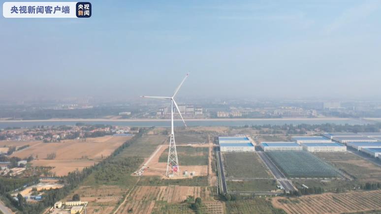 160米风电新高!全球首座构架式钢管风塔在山东菏泽鄄城并网发电图片