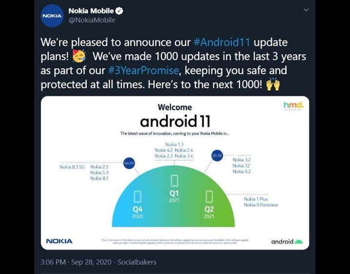 HMD Global 公布诺基亚手机更新 Android 11 机种与时程 随后又删除了