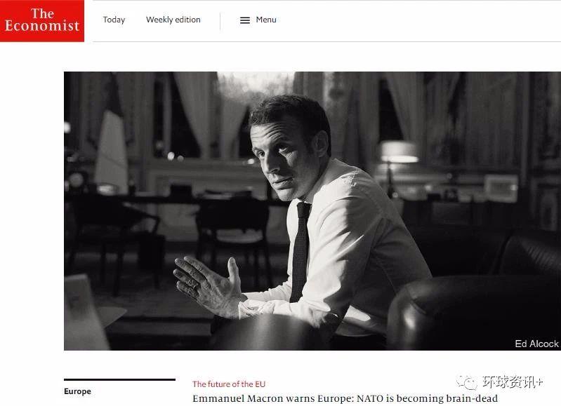 """△法国总统马克龙曾在接受英国《经济学人》杂志专访时称,北约正在经历""""脑死亡""""。"""