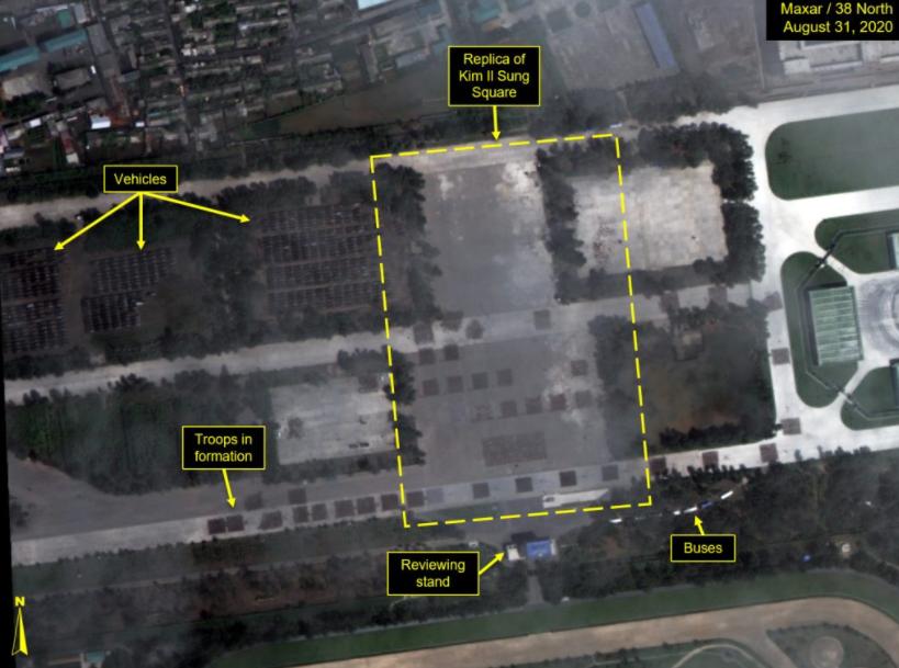可以看见士兵方阵和车辆方阵,但是没有看见机械化装备 图源:38 North