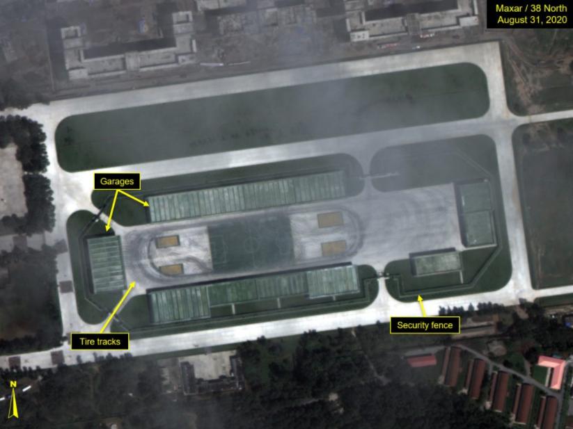 由于车库的存在,外界无法通过卫星判断何种装备参加了阅兵 图源:38 North