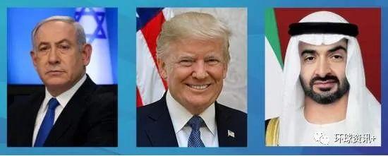 △在美国的摄合下,阿联酋与以色列上月宣布将实现两国关系完全正常化。图中从左至右:以色列总理内塔尼亚胡、美国总统特朗普、阿联酋阿布扎比王储穆罕默德。