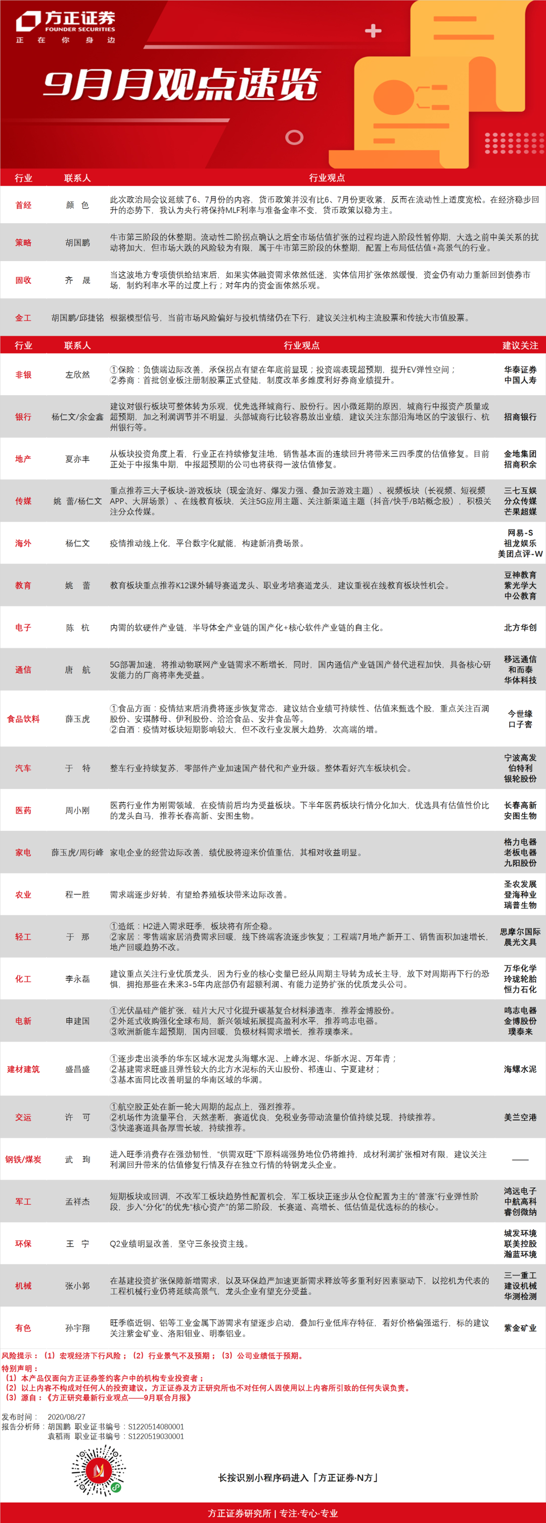 【方正研究】方正证券研究所·31个小组·9月观点速览