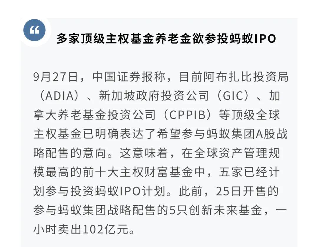 【策略】超级企业跟踪第17期:顶级主权基金参投蚂蚁IPO