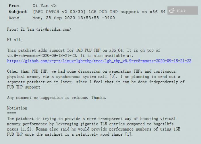 [图]NVIDIA发布最新1GB PUD THP补丁 可提升大内存Linux性能