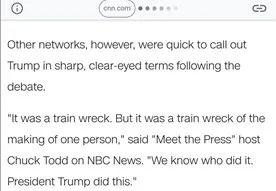 美民调显示特朗普辩论中惨败给拜登 美媒仍强行尬吹