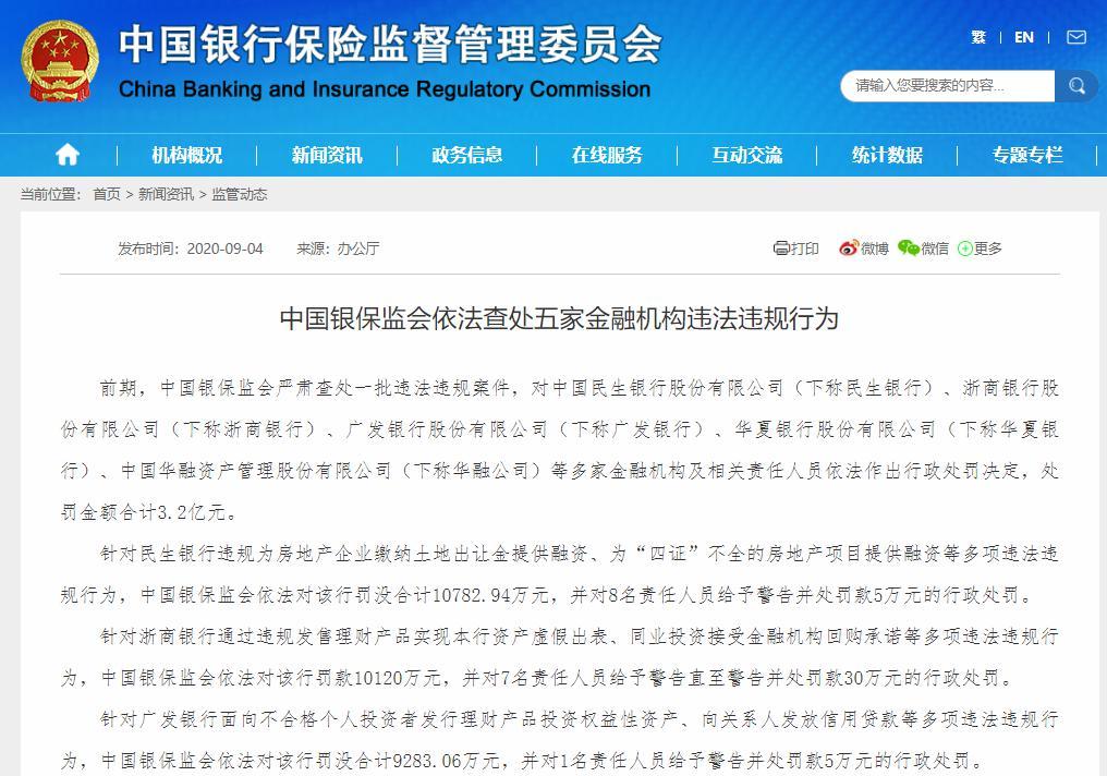 广发银行等五家金融机构被罚3.2亿 祸起对房企违规融资等