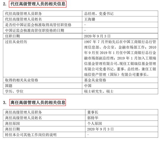 工银瑞信基金董事长辞任 年内15家基金公司董事长变更(名单)