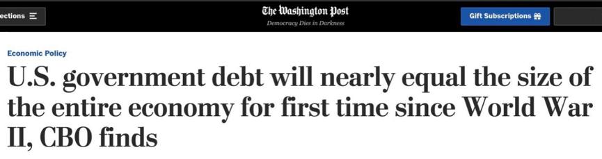 《【华宇娱乐平台注册】美国债务将超自身经济体量 二战以来最高》