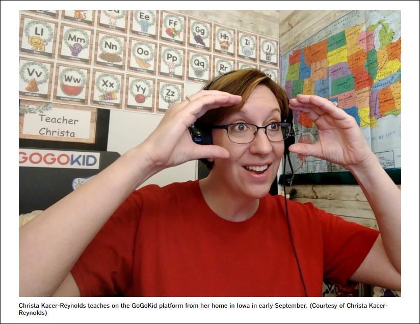 克里斯塔·卡克斯-雷诺兹在电脑前上课,《洛杉矶时报》报道截图