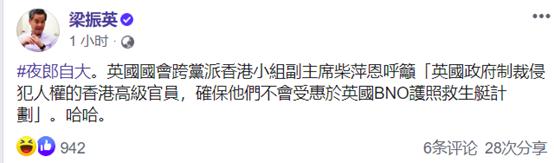 英国工党女议员跳出来妄评港警拘捕行动,还呼吁制裁香港高官,梁振英批:夜郎自大