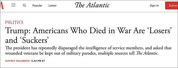 """""""特朗普:阵亡的美军是'废物'和'混子'"""",《大西洋月刊》9月3日报道截图"""
