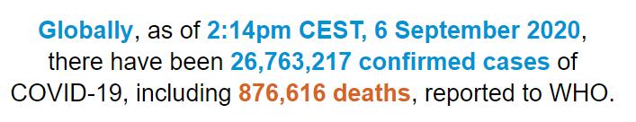 世卫组织:全球新冠肺炎确诊病例超过2676万例