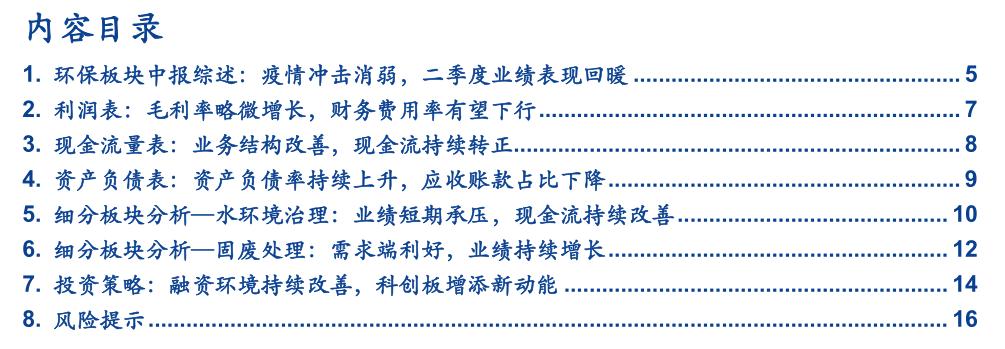 【安信环保公用邵琳琳团队】环保2020年中报总结:疫情冲击消弱,二季度业绩表现回暖