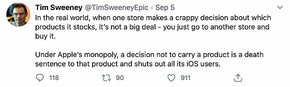 Epic Games创始人吐槽苹果垄断:拒绝某款产品上架就是判死刑