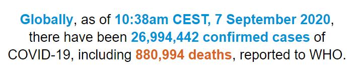 世卫组织:全球新冠肺炎确诊病例超过2699万例