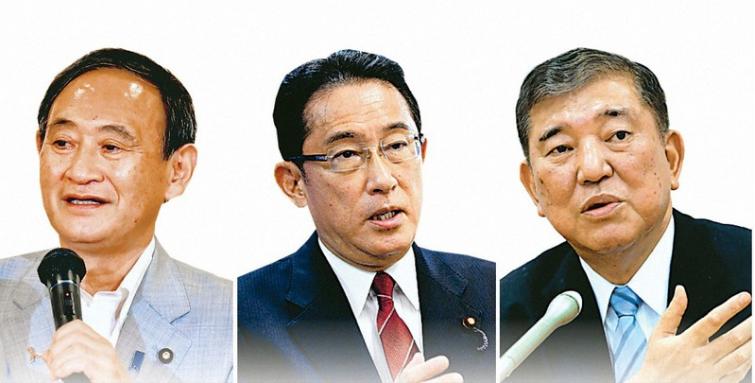 日本自民党总裁选举正式开始 3位候选人打出各自口号