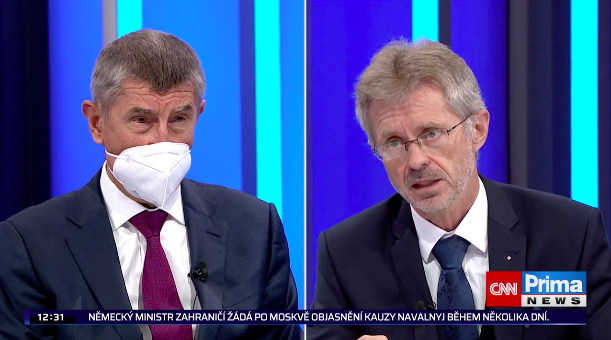 △捷克总理巴比什与维斯特奇尔在电视节目中激烈交锋