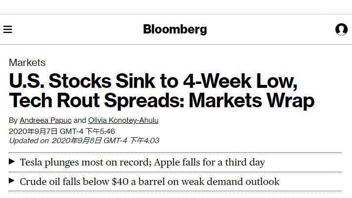 科技股拖累美股三连跌 政治动荡继续搅动市场