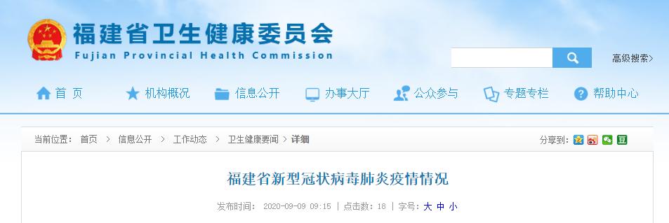 9月8日福建省无新增新冠肺炎确诊病例、疑似病例、无症状感染者图片