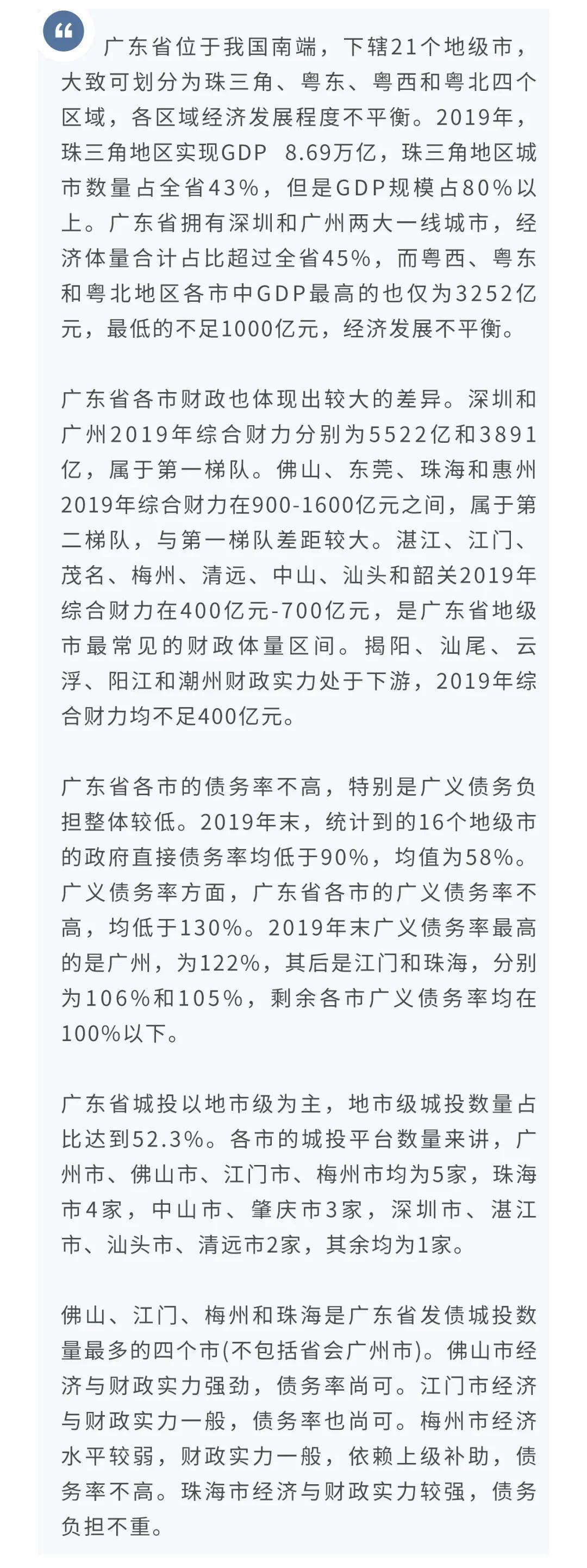 【信用】城投债区域研究系列报告之五十三—广东省城投研究(下)地市篇