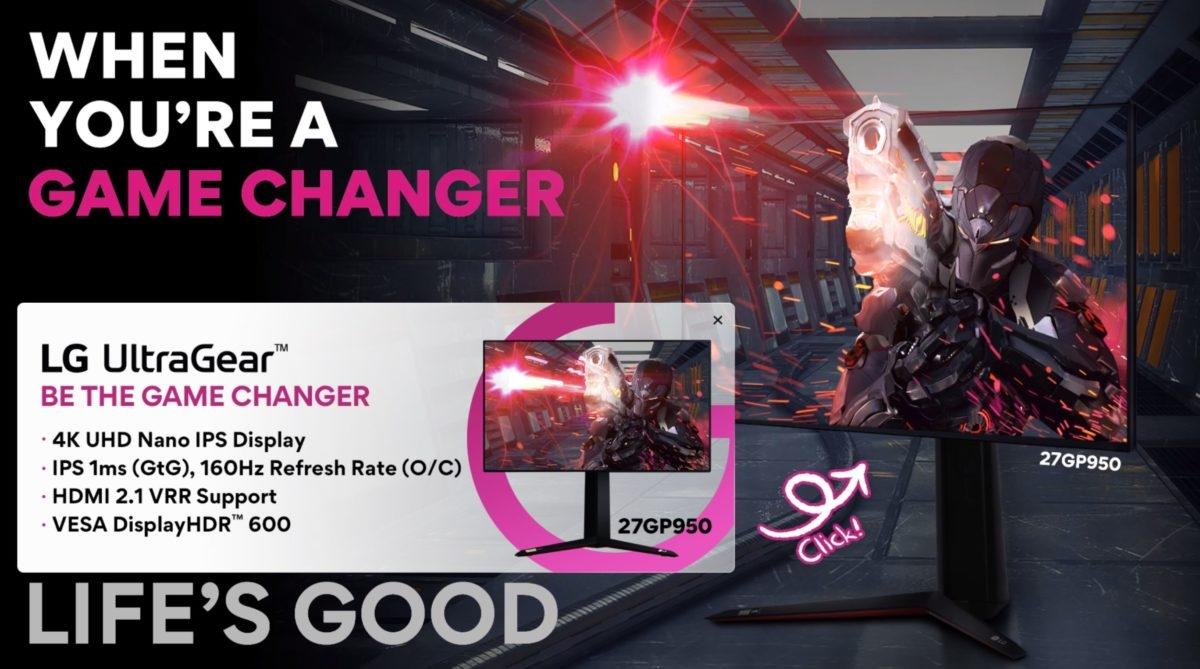 LG发布首款4K 160Hz显示器27GP950:IPS面板、HDMI 2.1接口