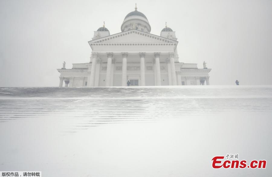 <p>General view of the Helsinki Cathedral during a heavy snow storm in Helsinki, Finland, Jan. 12, 2021. (Photo/Agencies)</p>