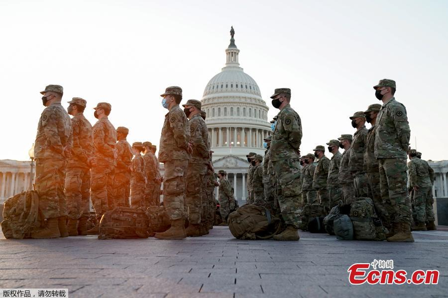 <p>Members of the National Guard gather at the U.S. Capitol in Washington, U.S., Jan. 12, 2021. (Photo/Agencies)</p>