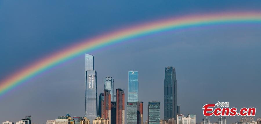 <p>A beautiful rainbow landscape appears after a heavy rain in Nanning, Guangxi, May 16, 2021. (Photo /Huang Weiming)</p>