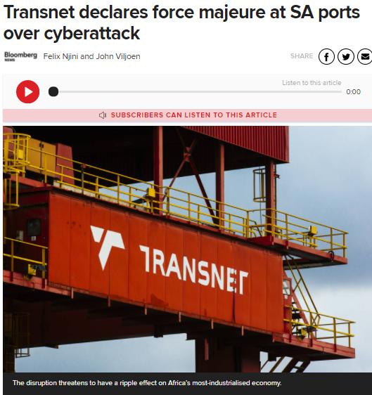 南非主要港口系统遭受黑客攻击 港口货运被迫延迟