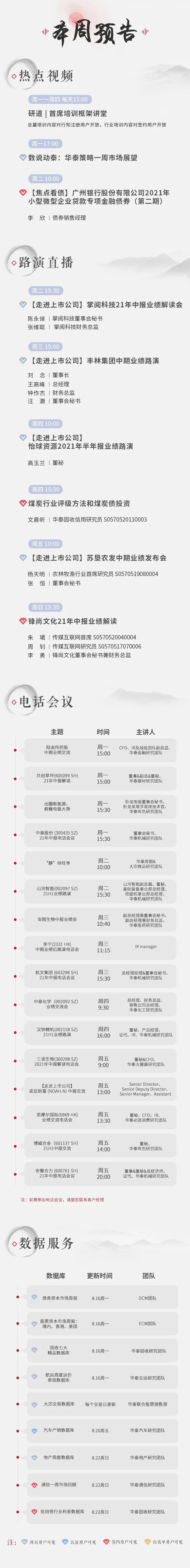 活动日历 | 华泰研究一周预告