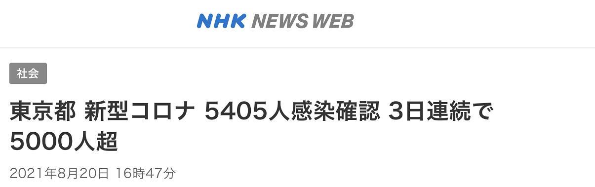 日本东京都20日报告新增新冠确诊病例5405例