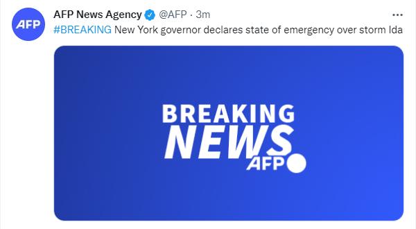 """纽约州州长宣布因飓风""""艾达""""进入紧急状态"""